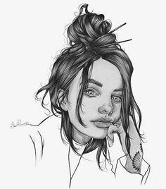 Ganazas de moño y lápiz  #illustration #draw #pencil #ilustracion #elenapanc #tattoo #hair #love by elenapanc