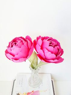 ~ shades of pink ♡ These lovely handmade paper peonies were designed by Paper & Peony -- #paperflower #paperpeony #paperpeonies #madamechic #magenta #darkpink #pink #peonies #peony #katespade