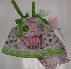 03 month baby girl John Deere cotton pillowcase by ckmexibabe, $29.99