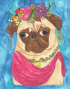 Pug Gift For Her, Pug Dog Lover Art Gift, Dorm Decorations, Boho Girlfriend Gift, Cute Gifts For Women Under Funny Animal Art Print Star Wars Prints, Star Wars Art, Dog Artwork, Pug Art, Quirky Art, Colorful Wall Art, Pug Love, Watercolor Illustration, Watercolor Painting