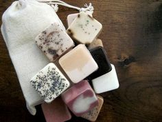 A collection of mini handmade soaps is a sweet treat.