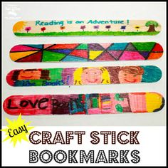 easy peasy DIY Personalized Craft Stick Bookmarks for kids. Be forewarned - have lots of crafts sticks handy because you can't make just 1!