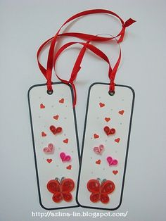 Red theme quilled butterfly and quilled hearts