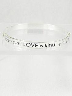 Accessory Accomplice Silvertone Engraved Inspirational Love Message Bangle Bracelet Accessory Accomplice http://www.amazon.com/dp/B00IAVNIUK/ref=cm_sw_r_pi_dp_V-r6tb09TFEV6