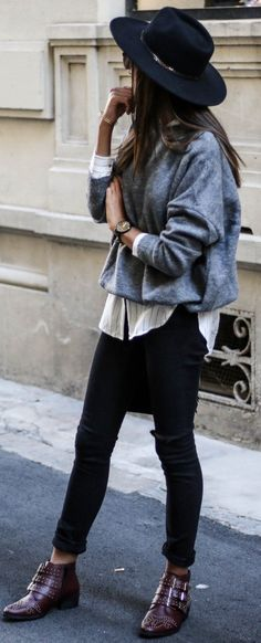 #trending #fall #outfits | Grey   Black And White   Burgundy
