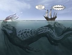 The Kraken is a legendary cephalopod-like sea monster of giant size in Scandinavian folklore. According to the Norse sagas, the kraken dwells off the coasts of Norway and Greenland and terrorizes nearby sailors. Monster Art, Kraken Monster, Magical Creatures, Sea Creatures, Le Kraken, Mythological Creatures, Sea Monsters, Creature Design, Dungeons And Dragons