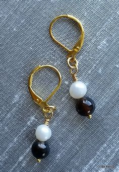 Dangle Earrings – Agathes Earrings, white pearls earrings – a unique product by…