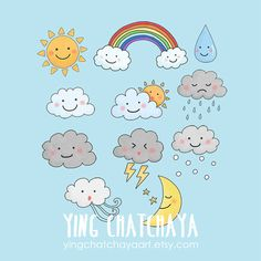Digital Download Weather Clipart Weather Clip by YingChatchayaArt