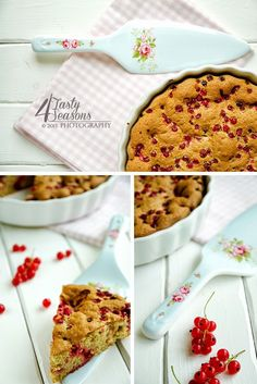 Spelt flour cake with red currants