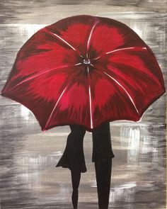 Rainy Day Romance is the perfect painting to create with your significant other! Find it at a studio near you! #datenight #datenightidea #paintandsip #OilPaintingRain