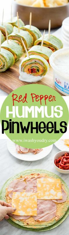 These Roasted Red Bell Pepper Hummus Pinwheels are full of so much flavor and are the perfect appetizer for any game day!