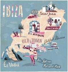 Spain, Baleares, Ibiza Map