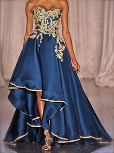 Marchesa 2013. The gold & blue go so beautifully together. Love it./ Alice, I love your closet!