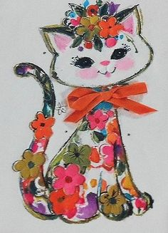 60s Flower Kitty Greeting Card with Ribbon