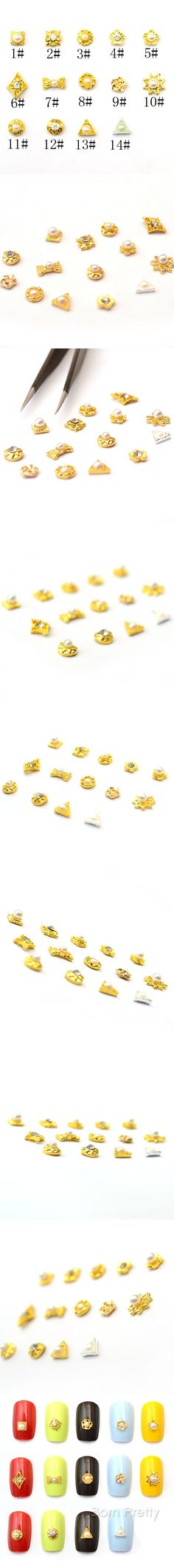 $1.59 5Pcs Bowknot Triangle Nail Art Decoration Mini 3D Metal UV Gel Studs - BornPrettyStore.com