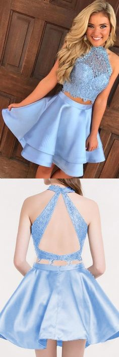 Blue Two Piece A Line Halter Keyhole Back Appliques Short Homecoming Dress, Shop plus-sized prom dresses for curvy figures and plus-size party dresses. Ball gowns for prom in plus sizes and short plus-sized prom dresses for Two Piece Homecoming Dress, Blue Homecoming Dresses, Hoco Dresses, Blue Dresses, Dress Prom, Freshman Homecoming Dresses, Halter Dress Short, Semi Dresses, Dresses For Teens