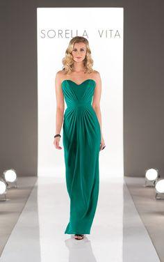 Look through stunning floor length designer chiffon bridesmaid dresses with a strapless sweetheart neckline featuring a detachable chiffon belt.