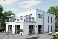 Evolution L 173 - Bien Zenker - http://www.hausbaudirekt.de/haus/evolution-l-173/ - Fertighaus als Einfamilienhaus Modernes Haus Stadthaus mit Flachdach