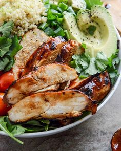honey chipotle chicken bowls with lime rice  It looks delicious!