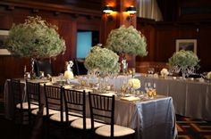 Magnificent mounds of baby's breath towering above every table. (These beautiful blooms are easier on the wallet, making dramatic displays an affordable option).