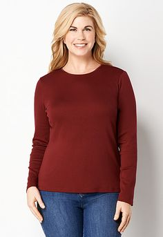 Love long sleeve plan cranberry top  Sleeve Satin Trim Tee, 9-0036008431, Long Sleeve Satin Trim Tee Main View PDP