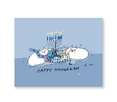 Happy Hanukkah Card Hanukkah Cat Card Set by jamieshelman on Etsy
