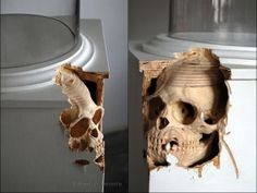 Skull wood carving