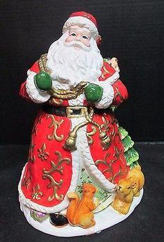 Beautifully Detailed Colorful Christmas Santa Cookie Jar.