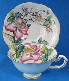 Rosina Cup Saucer Artist Signed A. Bentley Lilies Hand Painted