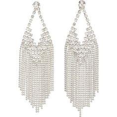 Elegant Crystal Dangle Earrings with Ball Chain Fringe  fun!