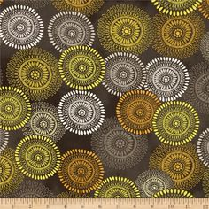Felicity Large Medallions Dark Grey from @fabricdotcom Designed by Cynthia Coulter and licensed to Wilmington Prints, this cotton print fabric is perfect for quilting, apparel and home decor accents. Colors include shades of grey, yellow and white.
