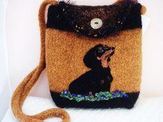 Felted Purse Bag,Gold, black Dachshund dog. $175.00, via Etsy.