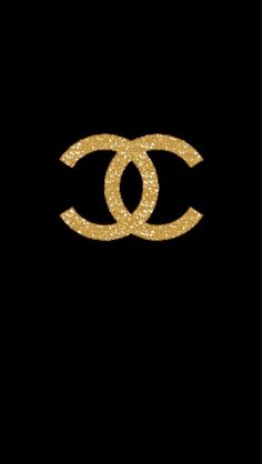 Black gld Chanel CC iphone phone wallpaper background lock screen
