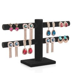 Double Layer earring rack 40 holes earring jewelry holder jewelry display stand earring storage rack free shipping