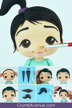Cute Girl TUTORIAL - Hobbies paining body for kids and adult Fondant Figures Tutorial, Cake Topper Tutorial, Fondant People, Fondant Cake Toppers, Sugar Craft, Doll Tutorial, Polymer Clay Crafts, Clay Projects, Clay Creations