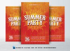 Summer / Retro Party Flyer by DesignWorkz on @creativemarket