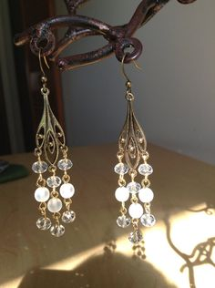 Antique Gold and Glass Chandelier Earrings by WearableMiscellany, $6.99