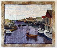 """""""Books and Cards available at 1061 Marginal Rd Halifax, NS at the Designer Craft Shop""""  Quilt art by Laurie Swim - wish we could afford this quilt (bought a print instead). One talented woman from Nova Scotia, Canada!"""