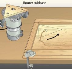 A routed groove adds interest to flat-panel doors, but finding a way to radius the corners was a mystery to me. This router subbase changes that. First, build a router subbase from 1 - My Saws And Jigs Woodworking Lamp, Woodworking Projects That Sell, Woodworking For Kids, Woodworking Techniques, Intarsia Woodworking, Popular Woodworking, Woodworking Hacks, Woodworking Jigsaw, Woodworking Quotes