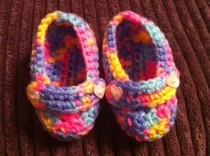 Posh Booties - Rainbow with heart buttons.