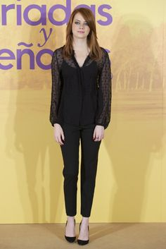 Pin for Later: 79 Big Reasons to Celebrate Emma Stone's Style  Emma took on Fall's polka-dot trend in a sheer blouse at a photocall in Spain. . .