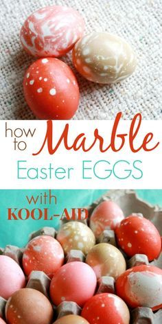 How to Marble Easter Eggs with Kool-Aid - Easy egg decorating technique for kids and adults