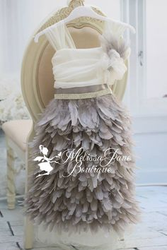Grey Feather Flower Girl Dress