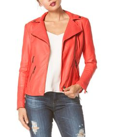 Loving this Coral Quilted Faux Leather Zip-Up Jacket on #zulily! #zulilyfinds