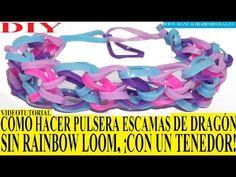 ▶ COMO HACER PULSERA ESCAMAS DE DRAGON SIN TELAR RAINBOW LOOM ¡CON UN TENEDOR! TUTORIAL ESPAÑOL DIY - YouTube