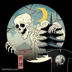 Skullgami | Shirtoid #demon #horror #japanese #shinigami #skeleton #vincenttrinidad