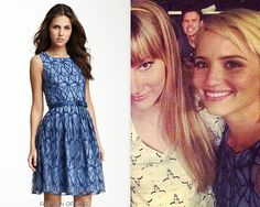 Eva Franco was once a favorite brand of Quinn, Emma, and Rachel, but it's been absent from our screens for a season or 2. Quinn's gorgeous dress from this on-set Instagram is unfortunately from 2012 and has sold out, but we did find a used one for sale on Poshmark! Eva Franco Bex Dress - $50.00 (POSHMARK size 6)