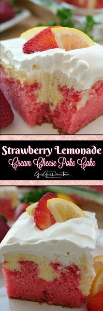Here's a delicious strawberry lemonade cream cheese poke cake that is perfect for spring and definitely perfect for a refreshing summer treat. This cake recipe uses my extremely popular cream cheese lemonade pie filling so you know it has to be delicious! Poke Cake Recipes, Delicious Cake Recipes, Yummy Cakes, Yummy Treats, Dessert Recipes, Yummy Food, Poke Recipe, Sweet Treats, Dessert Ideas