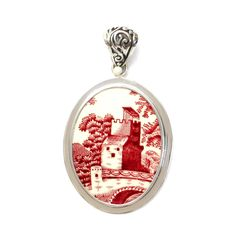 Broken China Jewelry Spode Pink Tower Red Sterling Oval Pendant