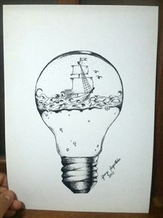 Caravela em uma lâmpada Light Bulb Drawing, Light Bulb Art, Art Drawings Sketches, Easy Drawings, Cute Pictures To Draw, Stippling Art, Just Ink, Lightbulbs, Aesthetic Drawing
